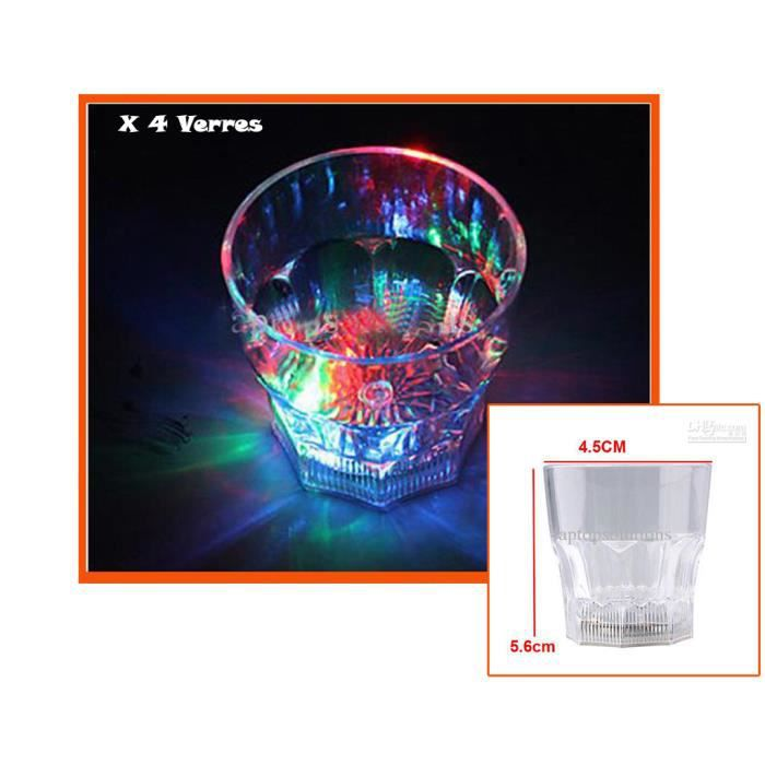 lot de 4 verres shooter lumineux led id al pour vos soir es de f tes boite de nuit. Black Bedroom Furniture Sets. Home Design Ideas