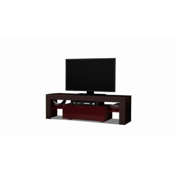 meuble tv 130 cm weng et bordeaux avec clairage led rvb. Black Bedroom Furniture Sets. Home Design Ideas