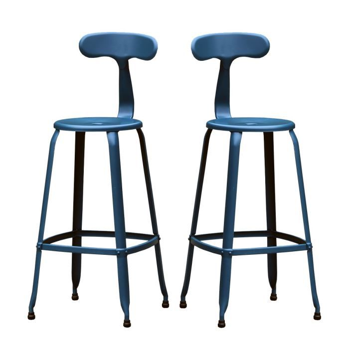lot de 2 tabourets de bar vintage hugo 75 coule achat vente tabouret de bar bleu cdiscount. Black Bedroom Furniture Sets. Home Design Ideas