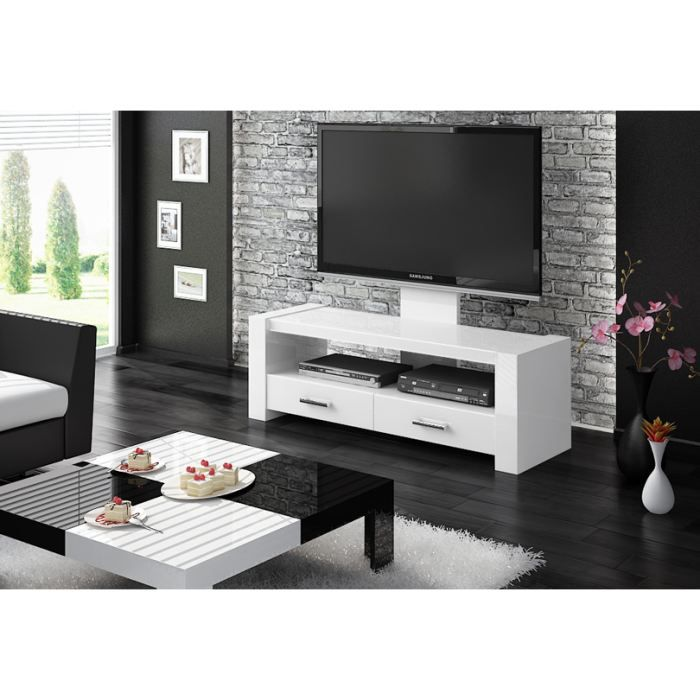 meuble tv alpha laque blanc achat vente meuble tv. Black Bedroom Furniture Sets. Home Design Ideas