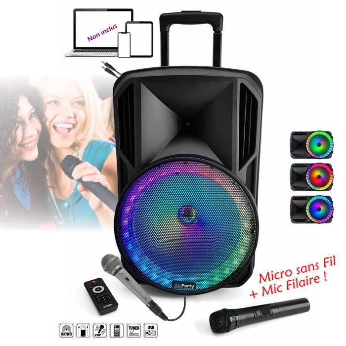 PACK SONO Karaoké 800w ENCEINTE AMPLIFIÉE PORTABLE + USB MP3