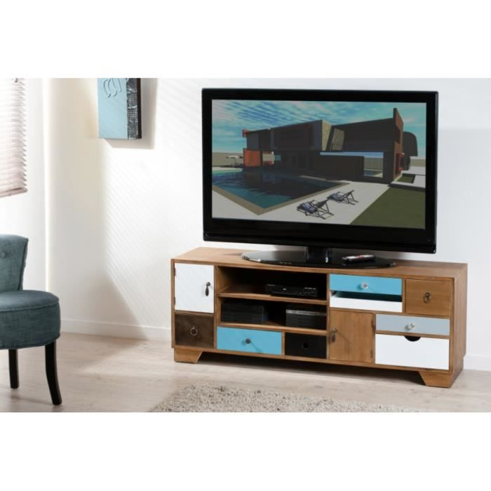 Meuble tv 2 niches multi rangements en paulownia mdf 121 for Meuble tv paulownia