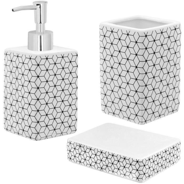 Set Salle De Bain Ceramique Design Hypnose Carre 3 Accessoires