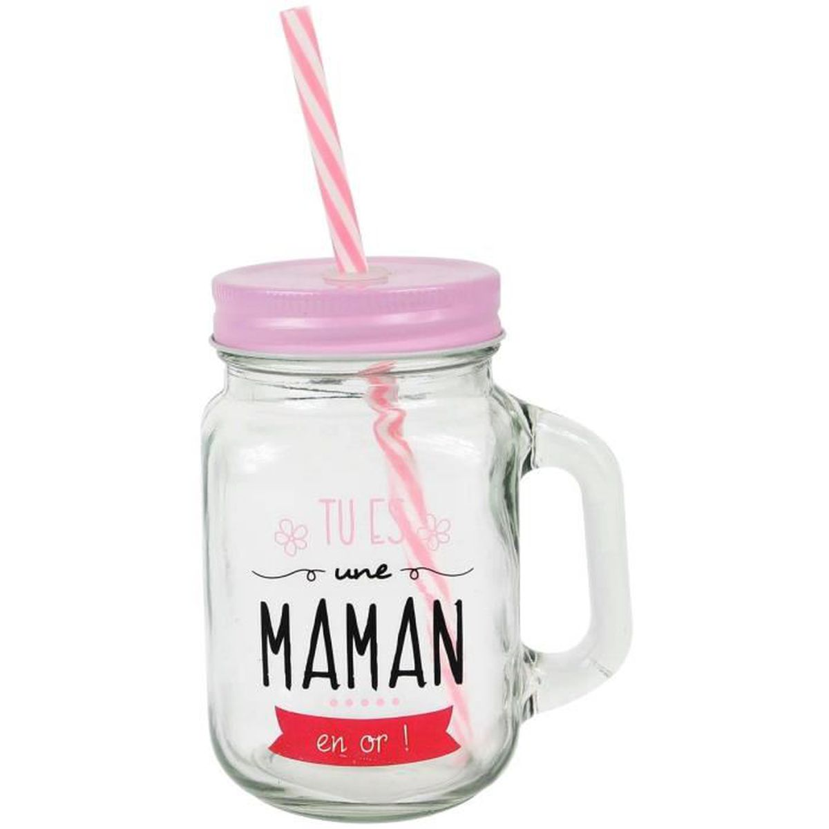 mason jar gobelet bocal avec paille inscription maman en or rose achat vente fontaine a. Black Bedroom Furniture Sets. Home Design Ideas