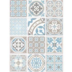 STICKERS Planche de Stickers Carreaux de Ciment - MOZIBLUE