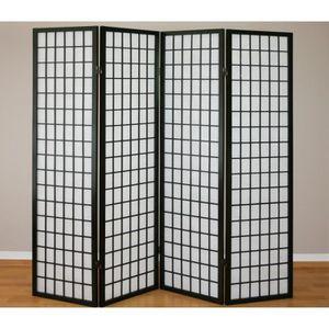 PARAVENT Paravent 4 panneaux en bois noir et papier riz 175