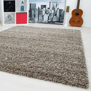 tapis shaggy taupe achat vente pas cher. Black Bedroom Furniture Sets. Home Design Ideas
