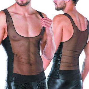 Men/'s Wrestling dos nu Slips Sous-vêtements En Cuir PU Lanière Confort Noir S-XL