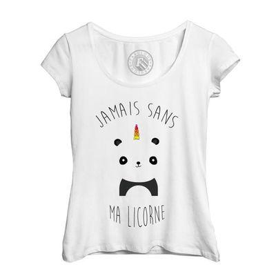 T Shirt Femme Jamais Sans Ma Licorne Humour Dessin Panda