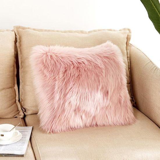 Rose Pâle Housse de Coussin en Fourrure Fausse 45x45cm Taie d\'oreiller  Decoration de Chambre