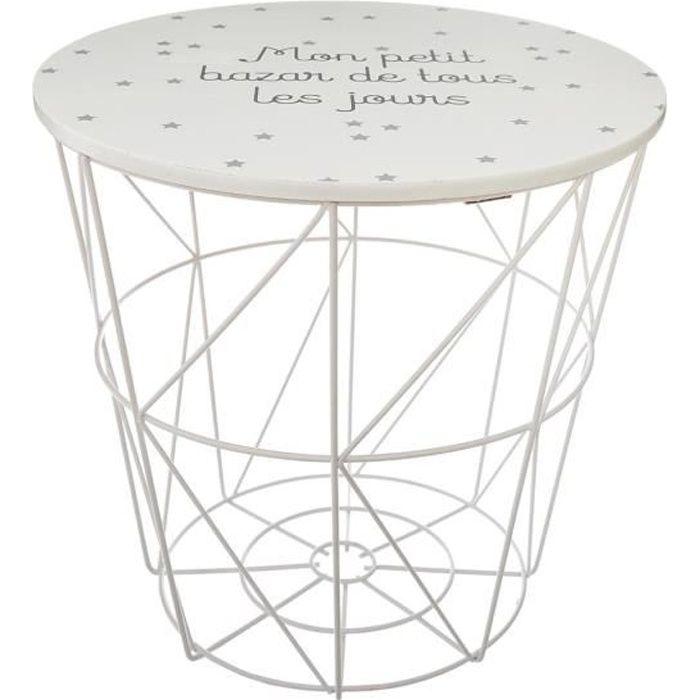 Atmosphera - Table Rangement en Métal et Bois pour chambre d'enfant Kumi Blanc