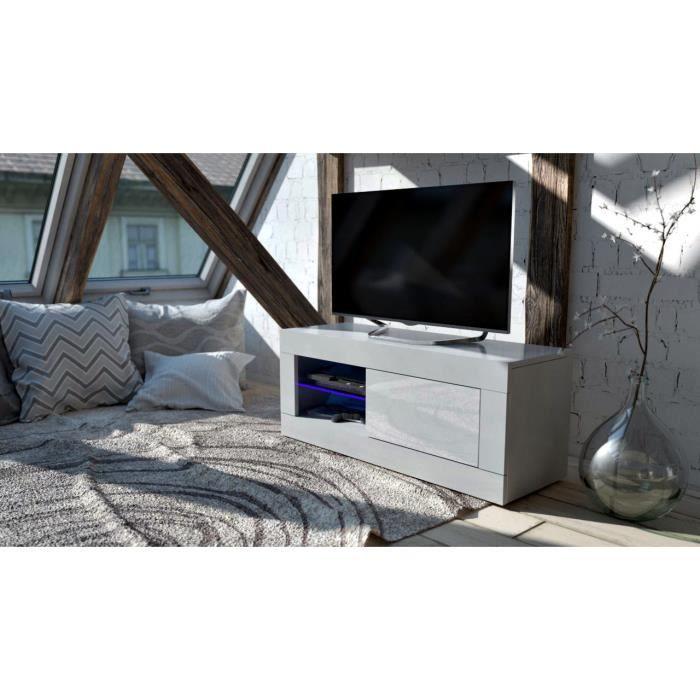 meuble tv 100 cm blanc avec led