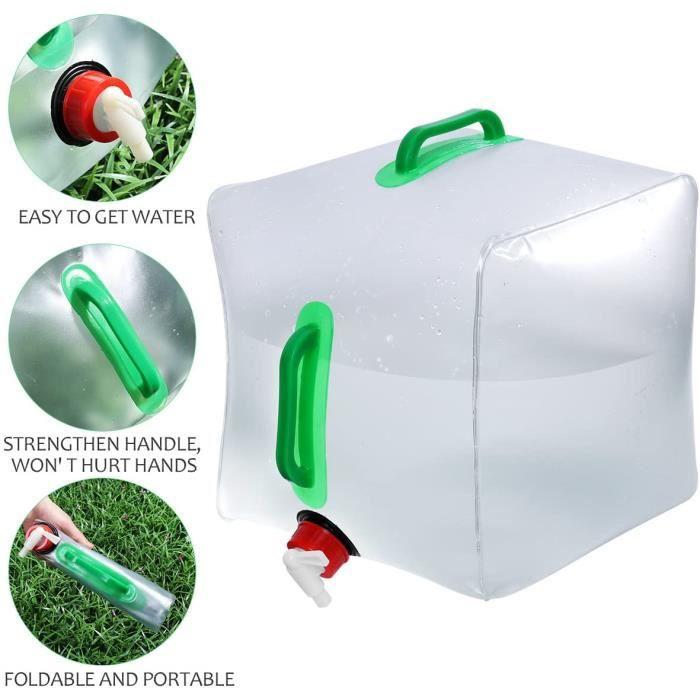 Réservoir d'eau bidon eau Pliable Sac Conteneur Portable poche hydratation Transparent Durable Grande Capacité pour Camping 20L