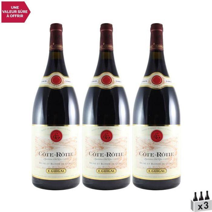 Côte Rôtie Brune et Blonde MAGNUM Rouge 2016 - Lot de 3x150cl - Maison Guigal - Vin AOC Rouge de la Vallée du Rhône
