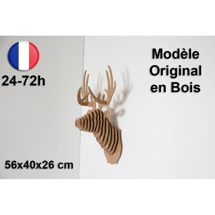 Tête de Cerf Trophée Sculpture Artdeco chasse bois luxe design - Cadeau Noel Déco Tendance