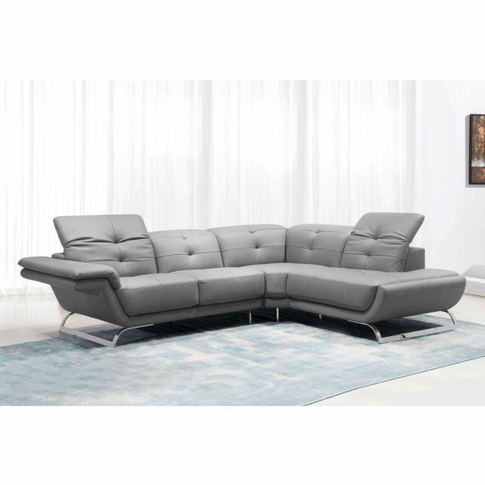 Canapé d'angle design en cuir gris AURORE (ANGLE DROIT)