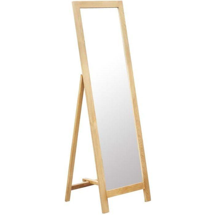 Miroir Sur Pied : Miroir Psyché En Bois De Chêne - Design Scandinave&Style Minimaliste - Forme De Chevalet Peinture - 48*46,5*150Cm