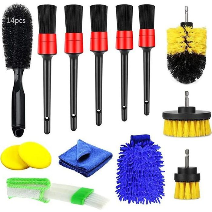 14 kits de brosse de nettoyage de voiture, kits de nettoyage d'intérieur de voiture, brosses de roue