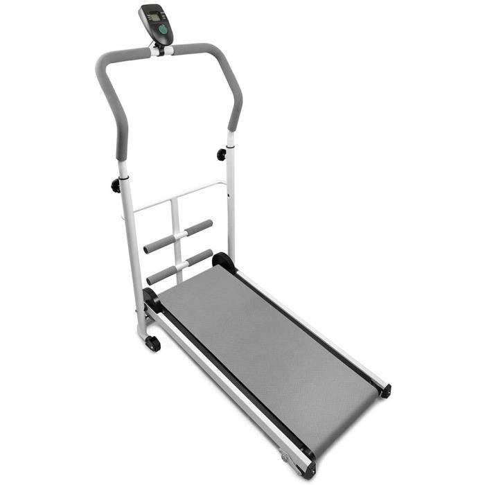 Tapis de Course Manuel, Machine de Marche, avec écran LCD, Charge maximale: 100 kg (Gris)[275]