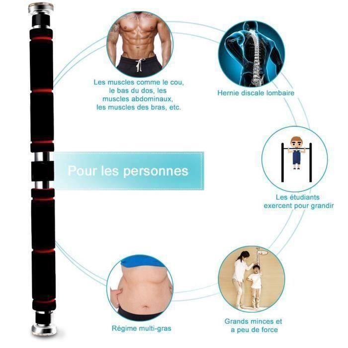 Barre de Traction Porte Barre de Musculation 62-105cm en Acier Inoxydable- Noir Rouge @HT