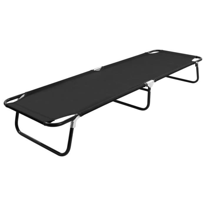 Haute qualité -Chaise longue Bain de soleil contemporain - Chaise de Repose pliable - Noir Acier #12291