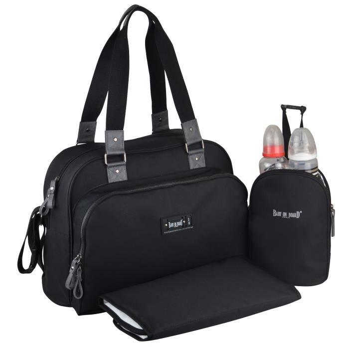 Baby on board- sac à langer - sac urban classic black - 2 compartiments à large ouverture zippée - 7 poches - sac repas - tapis à la
