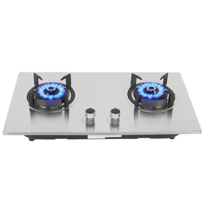 Cuisinière à gaz en acier inoxydable gaz de pétrole forte capacité de roulement dissiper la chaleur uniformément 2 brûleurs-HEN