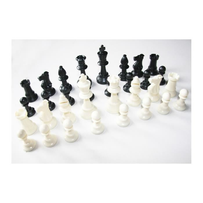 Pions de jeux d'échec lot de 32 pièces en plastique d'échec