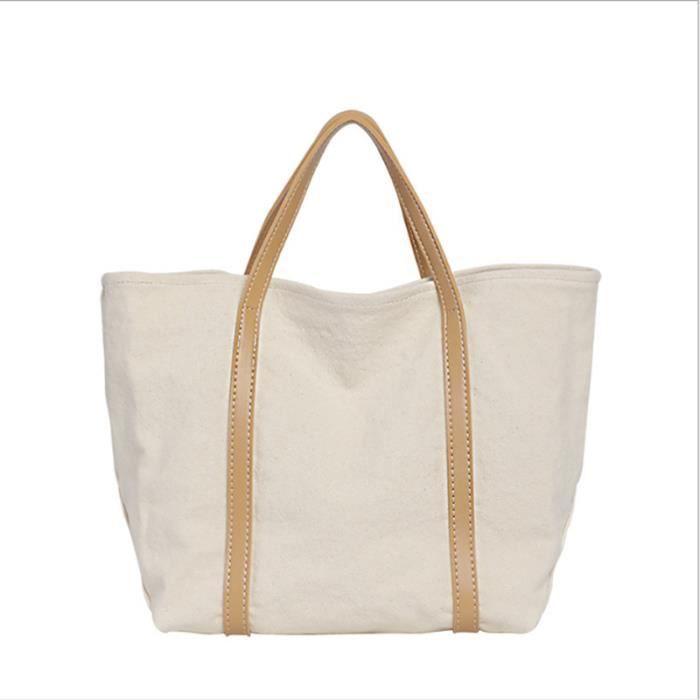 Sac de plage sac à main Simple rétro couleur sauvage correspondant Grande capacité fourre-tout Sac de mode casual toile épaule