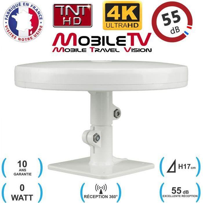 Antenne TV TNT HD 4K Omnidirectionnelle 55dB Camping car / caravane / camion / fourgon / bateau OMNI PRO PLUS - GARANTIE 10 ANS