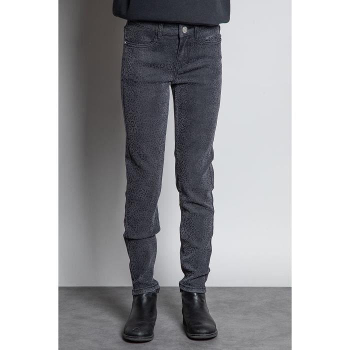 DEELUXE Jeans slim léopard JUANITA Grey Leo Denim