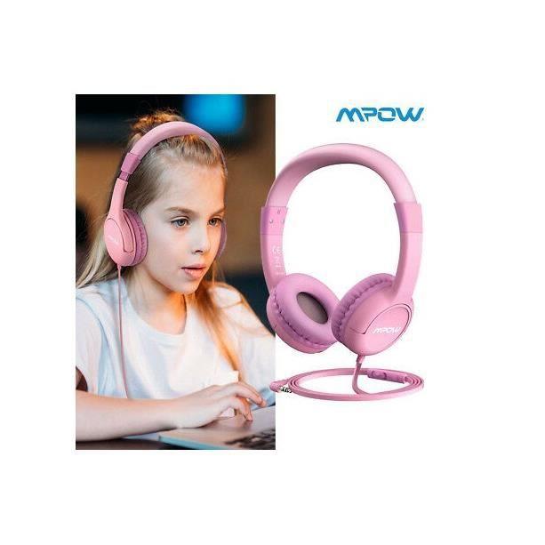 MPOW Casque audio pour enfant Rose Model BH245A, écouteur