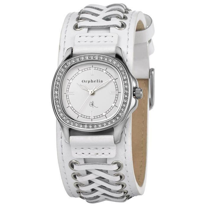 ORPHELIA - Montre Femme - Quartz Analogique - Bracelet Cuir Blanc - 122-1705-11