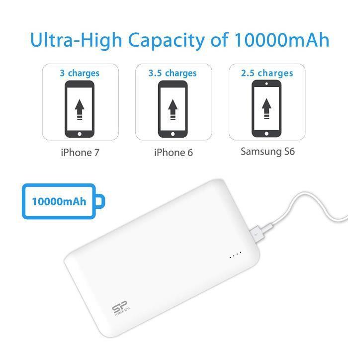 Batterie Externe Power Bank 10000 mAh, Charge 2 appareils à la fois, 3.5 Charges completes 1 seul cycle, Blanc- SILICON POWER