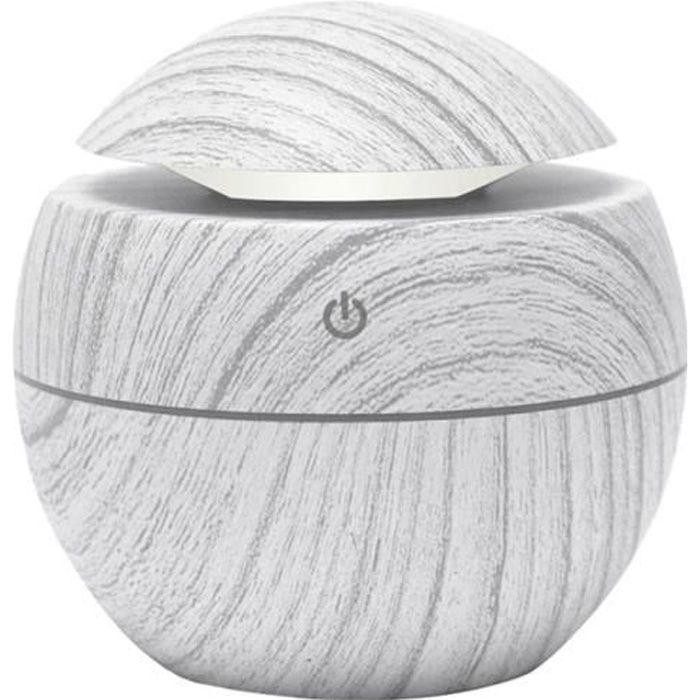 Diffuseur Ultrasonique 130ml USB Blanc Boisé Aromathérapie Huile essentielles Vapeur d'eau, Humidificateur.