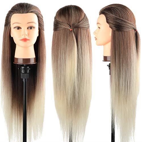 Neverland 28'' Têtes d'exercice,Tête à Coiffer Coiffure,100% Fibre Synthétique Cheveux, Mannequin Poupée pour le Salon B23