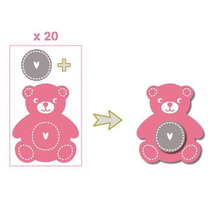 TOGA Pack de 20 Formes Découpées Nounours Rose Vert Gris