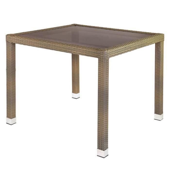 Table de repas carrée Rotin taupe/Verre - BAROS - L 90 x l 90 x H 76