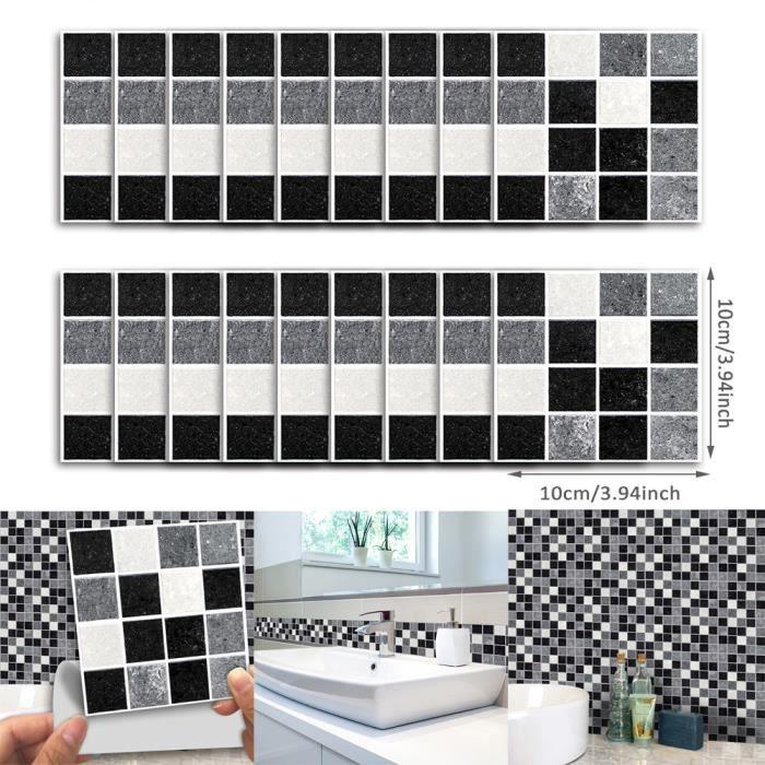 18pcs auto-adhésif mural Marbre noir mosaïque étanche Art cuisine  Autocollants pour carrelage anonywego31682