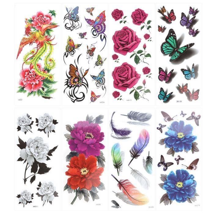 8 Feuilles Tatouage Temporaire Rose Fleur De Pivoine Phoenix 3d Feather Papillon Flash Tattoo Facile à Appliquer Et De Longue Durée