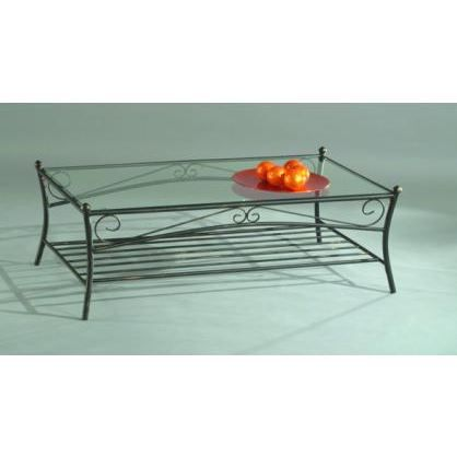 Table basse verre et fer forg arabesque achat vente for Table basse de salon en verre et fer forge