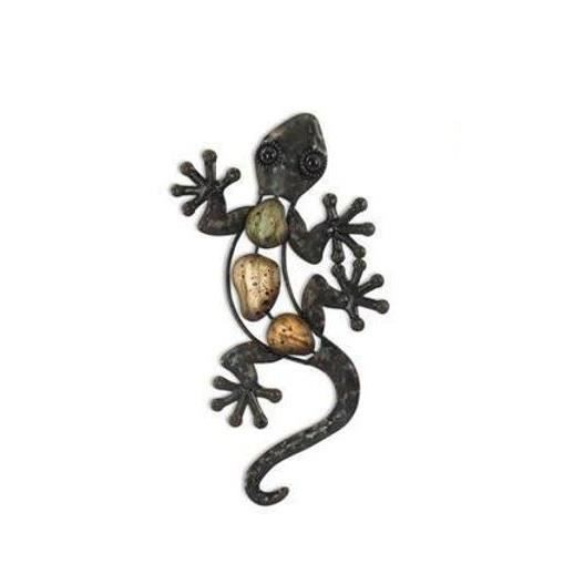 Gecko salamandre fer forg neuf metal brun deco 23cm porte for Decoration porte fer forge