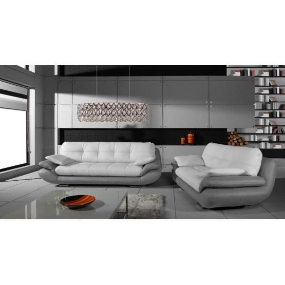 ensemble de canap s 3 2 regal blanc et gris achat vente canap sofa divan cdiscount. Black Bedroom Furniture Sets. Home Design Ideas