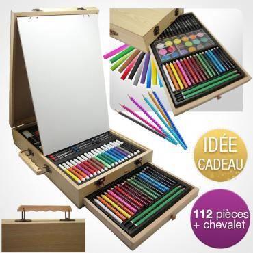 Mallette Dessin Peinture 112 Pieces Avec Chevalet Achat Vente Kit De Dessin Mallette Dessin Peinture 11 Cdiscount