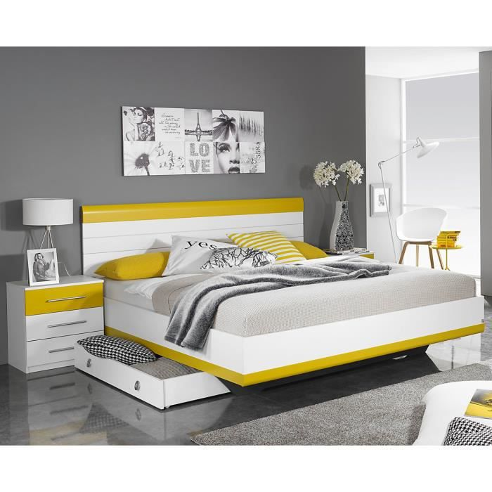 lit adulte design avec chevets coloris blanc jaune genaro 160 x 200 cm achat vente structure. Black Bedroom Furniture Sets. Home Design Ideas