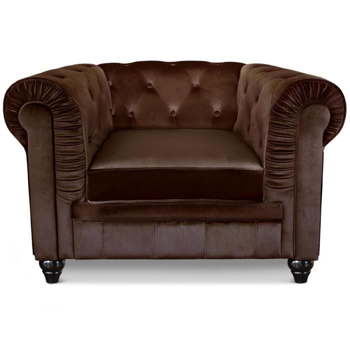fauteuil chesterfield velours marron achat vente fauteuil velours cdiscount. Black Bedroom Furniture Sets. Home Design Ideas