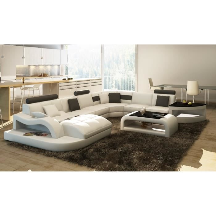 canap d 39 angle en cuir italien 8 places nordik et achat vente canap sofa divan cdiscount. Black Bedroom Furniture Sets. Home Design Ideas