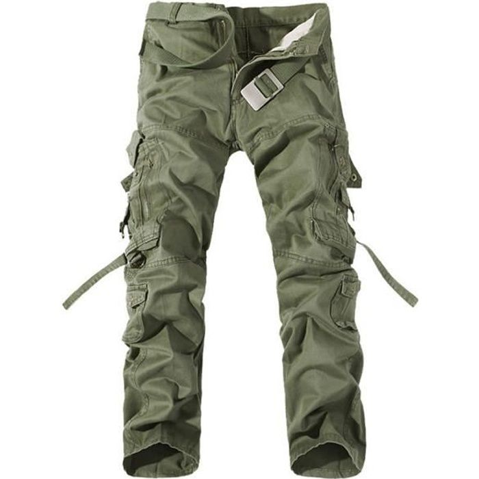 Pantalon battle homme pantalon cargo vintage vert en for Pantalon interieur homme