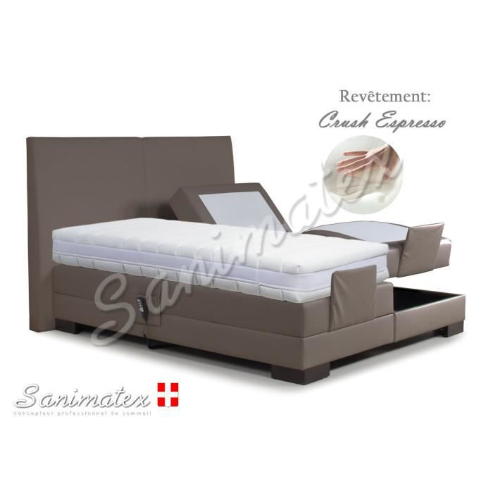 lit electrique boxspring 180x200 fujiyama niagara sable achat vente lit complet lit. Black Bedroom Furniture Sets. Home Design Ideas