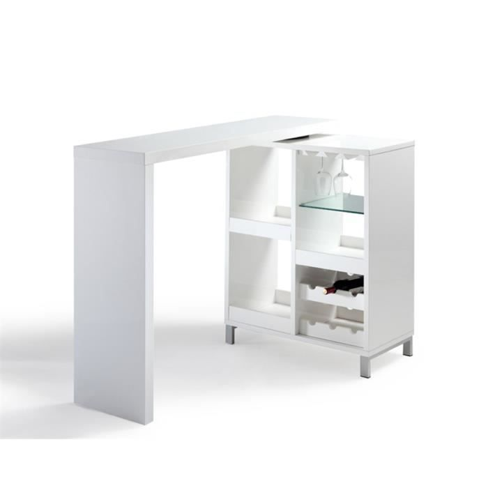 Bar smart blanc achat vente meuble bar bar smart blanc mdf laqu cdiscount - Meuble bar blanc laque ...